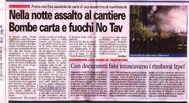 Capodanno NOTAV in Clarea, articolo di rettifica? ai giornali!